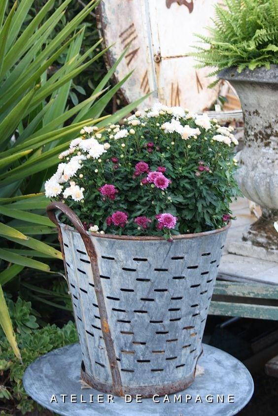 vintage olive basket bucket with flowers