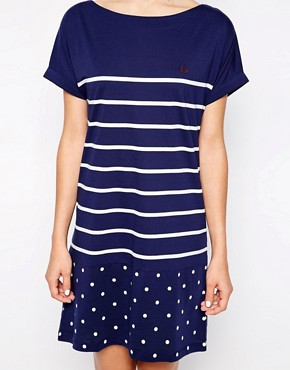 Image 3 ofFred Perry Stripe And Spot T-Shirt Dress