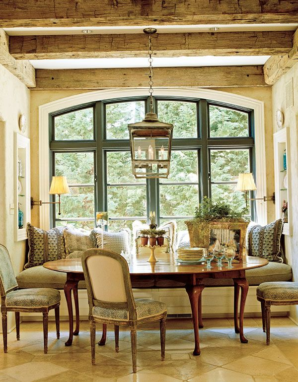 lantern french country style dining breakfast room wood ceiling beams gorgeous