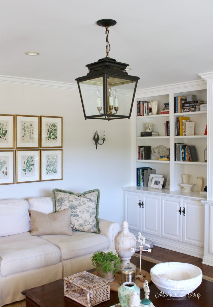 lantern ballard designs overhead pendant lighting neutral french country family room
