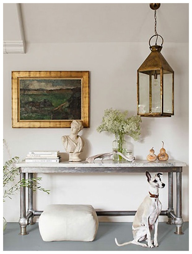 lantern over console artwork beautiful entry way vignette classic style