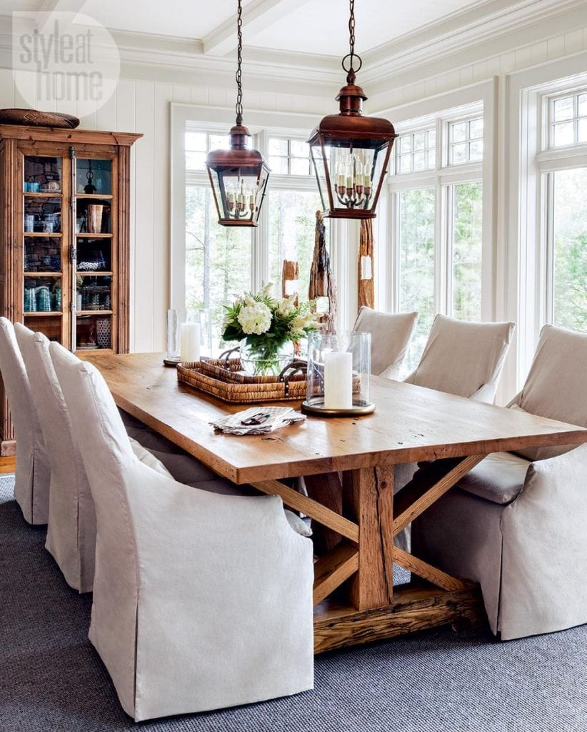 lantern twins over dining table farmhouse style dining room
