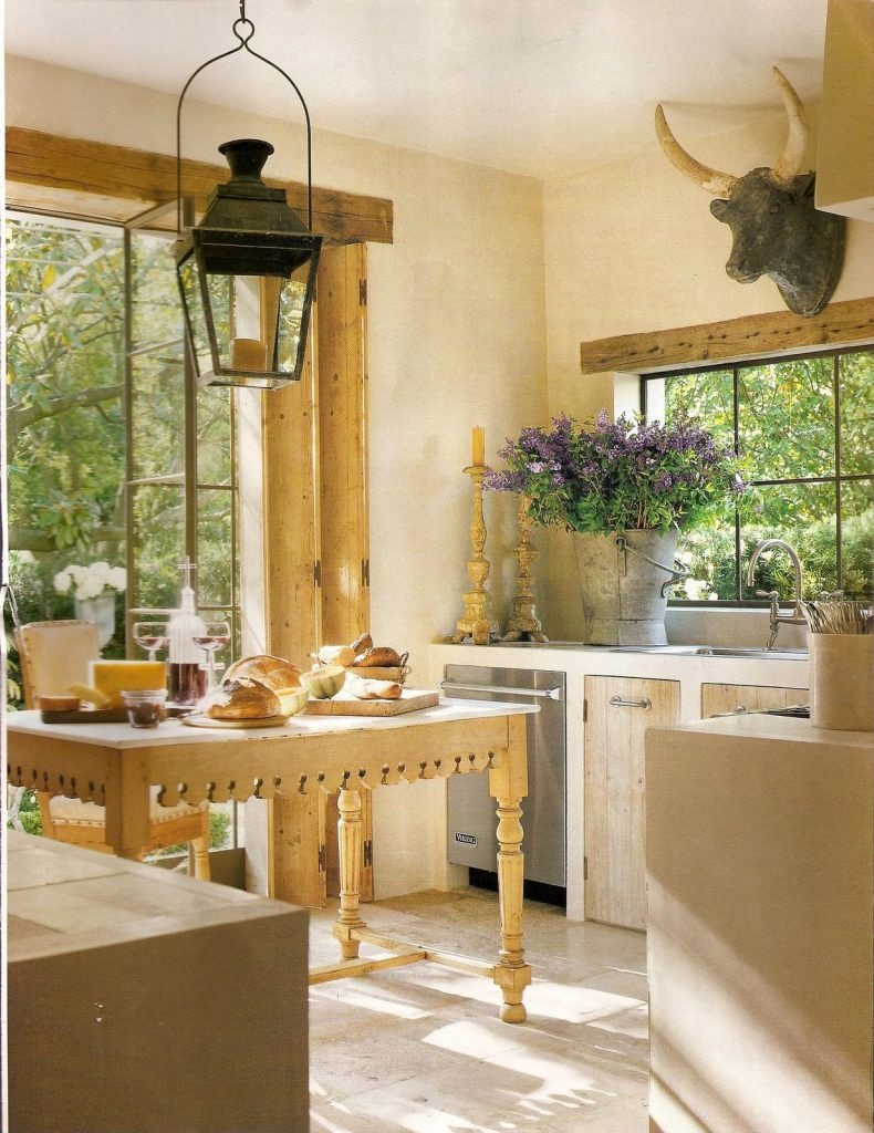 lantern antique in farmhouse style kitchen charming french style