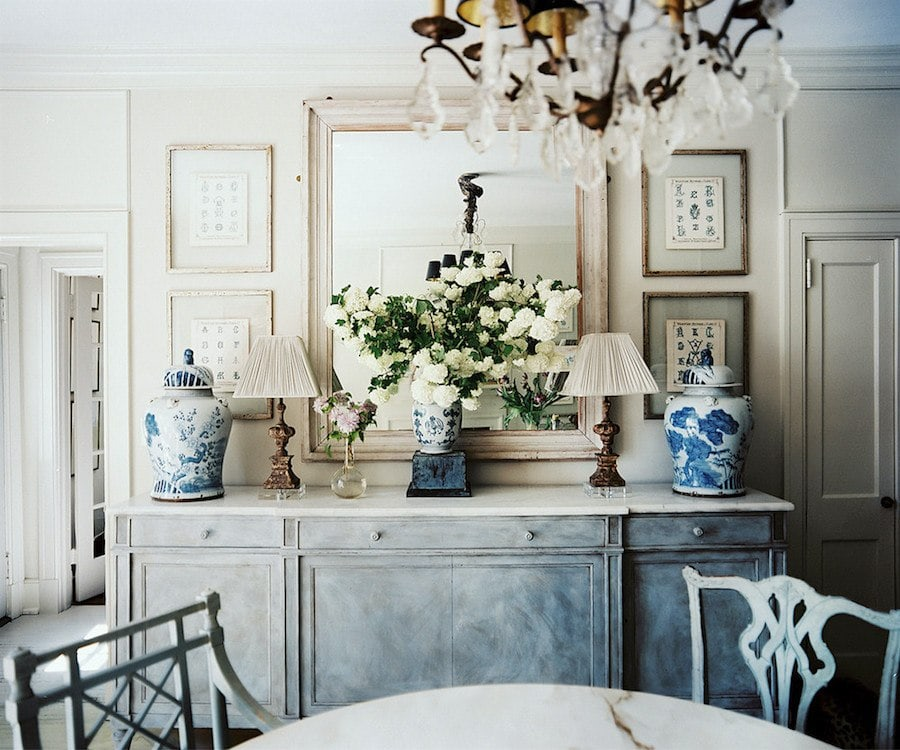 blue and white ginger jars in stunning neutral dining room antique chandelier