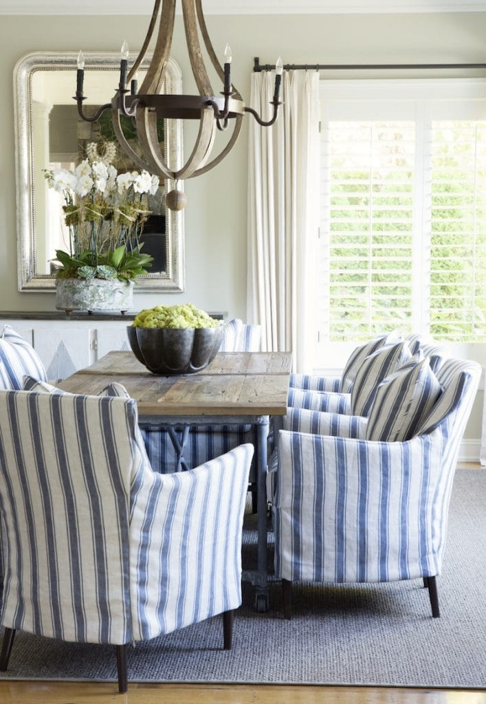 blue and white striped chairs dining area breakfast room charming