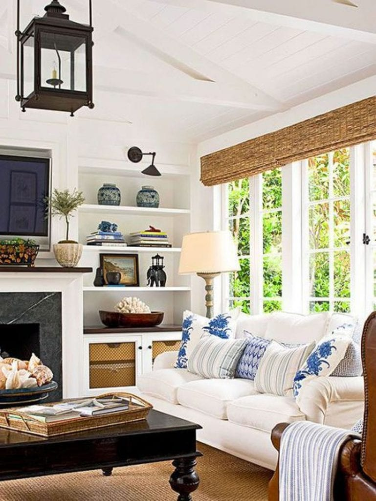 blue and white decor family living room pillows ginger jars bamboo shade gorgeous lantern