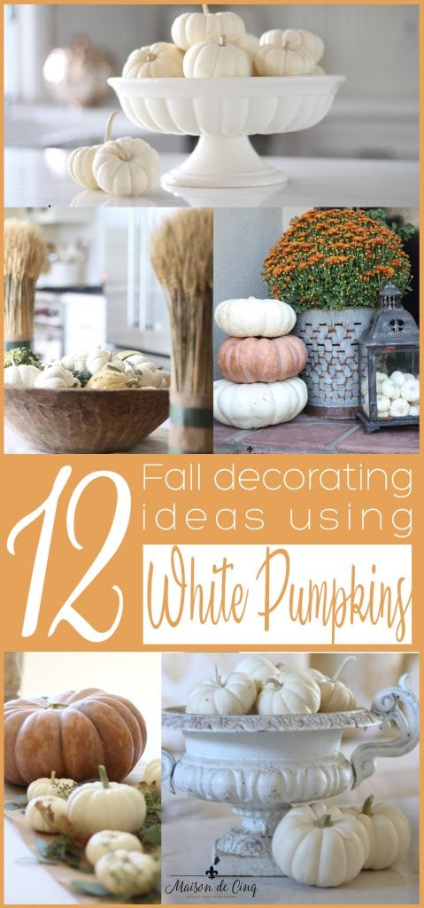 white pumpkins decorating ideas for fall banner