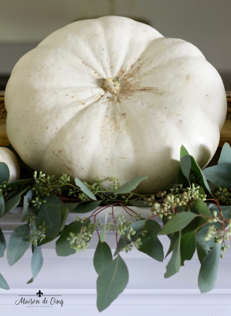 white pumpkins eucalyptus fall mantel display decor