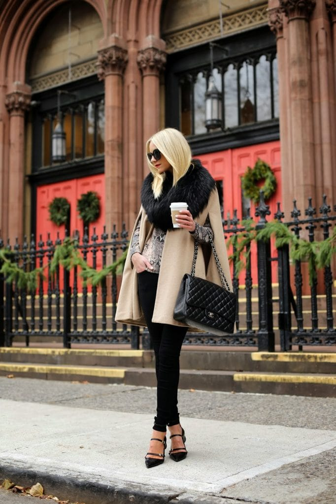 fall fashion trend fur trimmed camel cape poncho chic street style