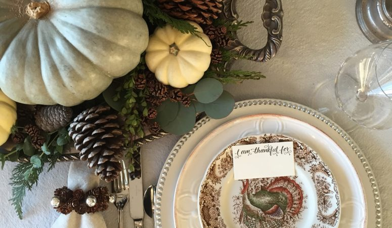 Thanksgiving Tablescape with Pinecones and Pumpkins