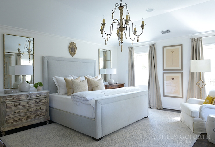botanicals bedroom neutral french style chandelier headboard gorgeous