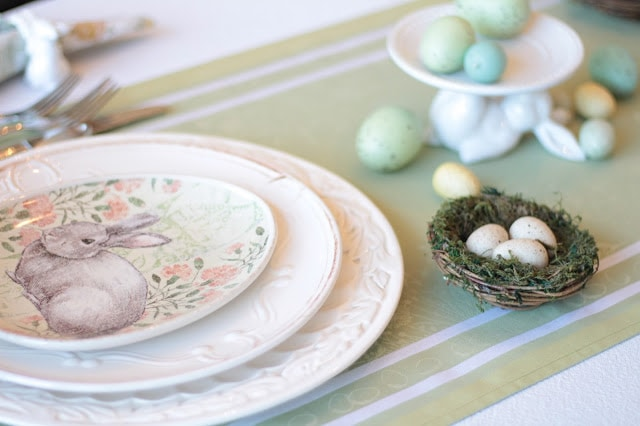 Classic Easter Tablescape featuring Soft Pastels & Pottery Barn Plates