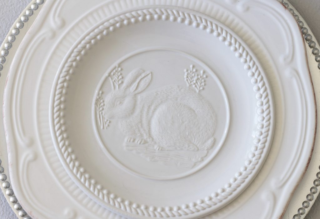 neutral easter tablescape white embossed bunny plates pottery barn
