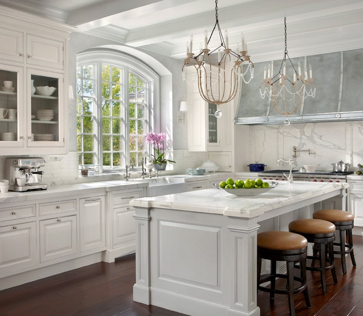 white kitchens french chandeliers marble counters fabulous zinc hood french country style