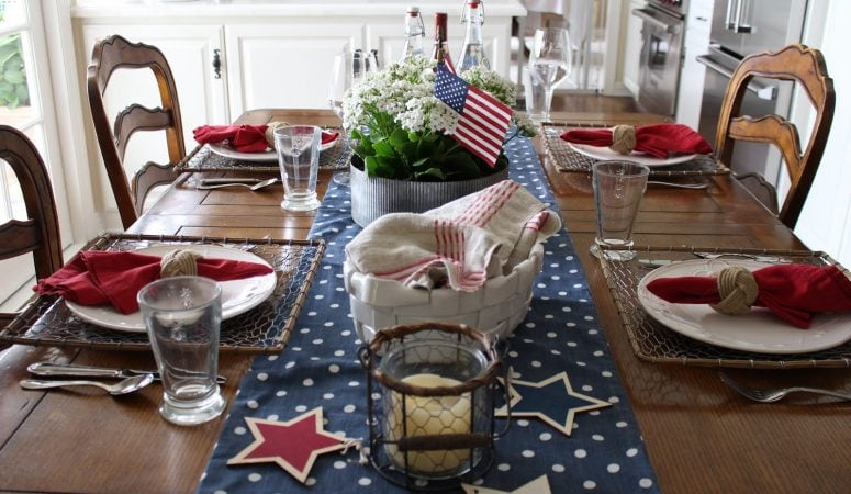 Patriotic Tablescape with Flags and Stars