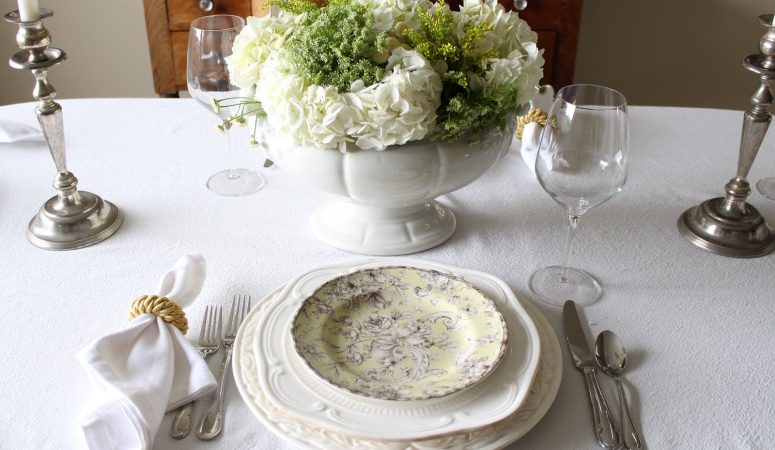 Spring Floral Tablescape with Green & White Hydrangeas