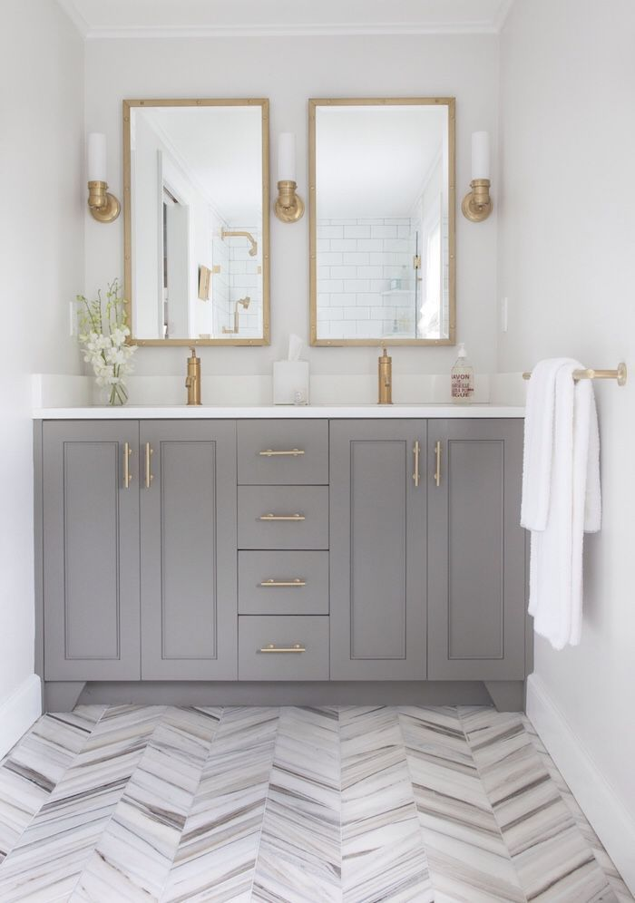 grey and gold bathroom gorgeous double mirrors and sinks herringbone floor