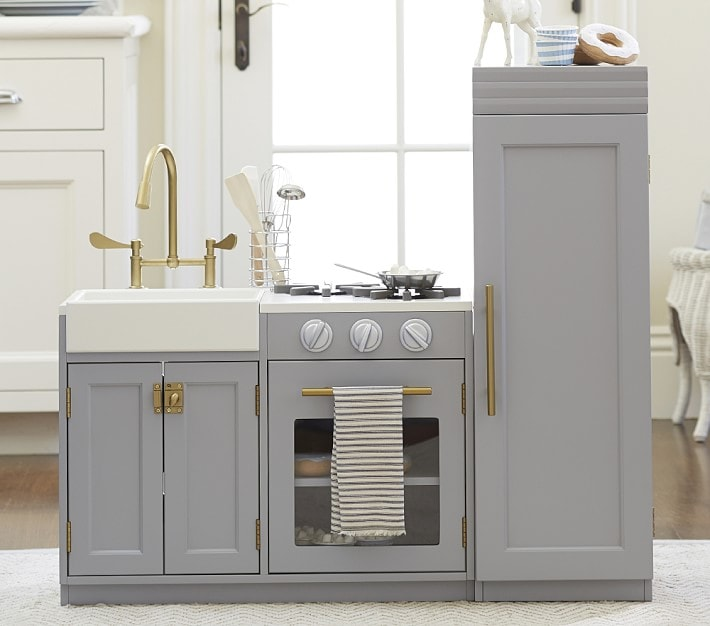 grey and gold pottery barn kids play kitchen