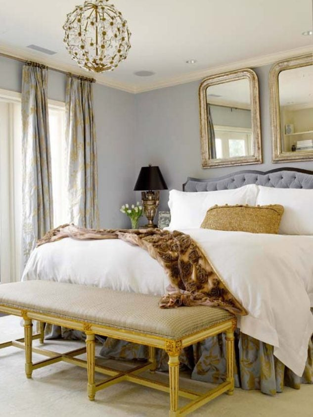 grey and gold bedroom two mirrors grey tufted bed french country bench