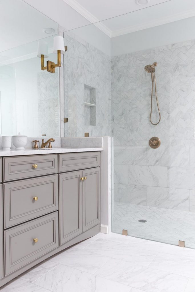 grey and gold bathroom stunning marble shower brass fixtures