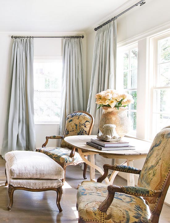 neutral rooms soft grey blue curtains and patterned linen chairs roses in french pot