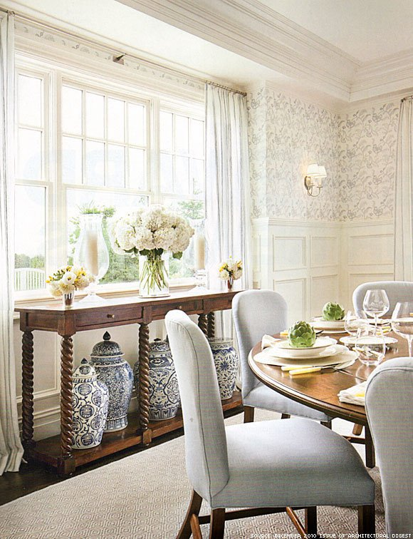 neutral rooms dining room soft grey chairs wallpaper wainscoting charming space