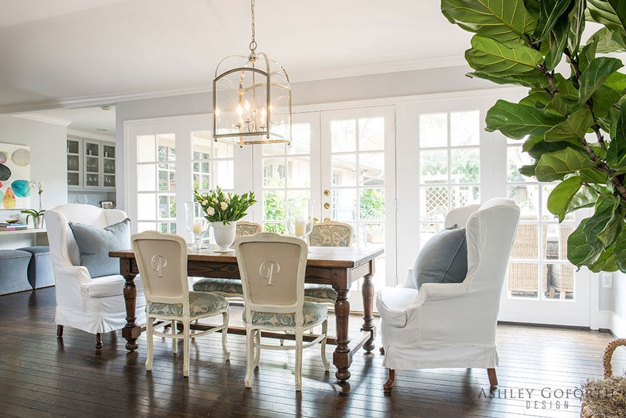 neutral rooms pop of grey blue breakfast room gorgeous french country style pendant lighting
