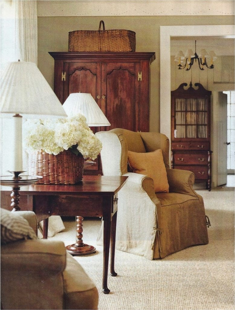 antique baskets holding hydrangeas vintage french country style room