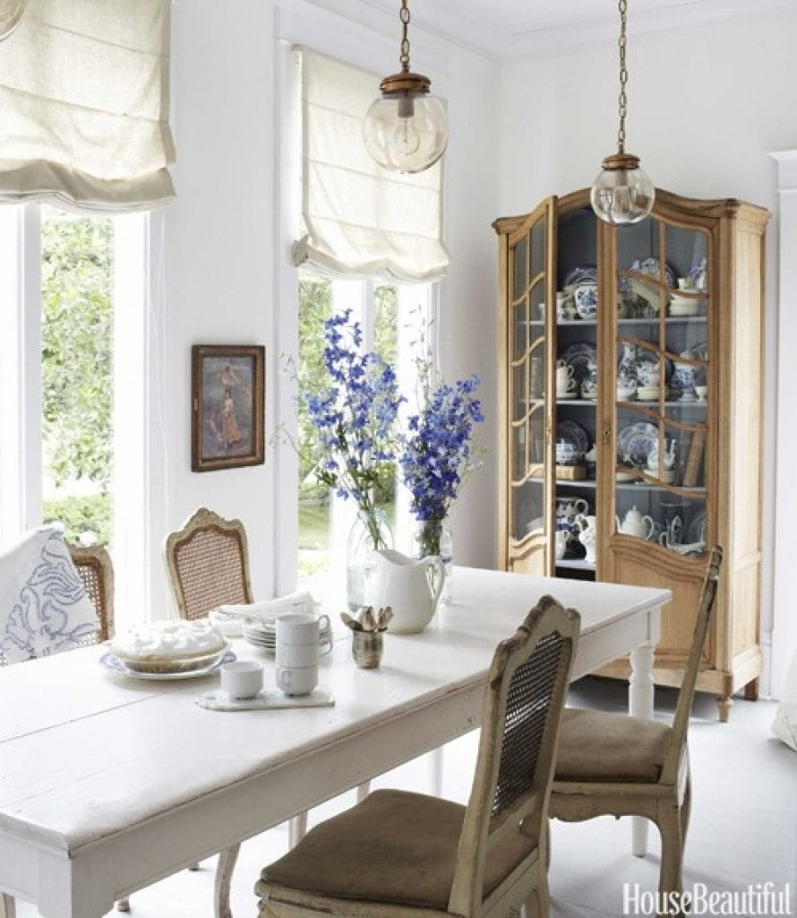 neutral rooms pop of color breakfast room french country with blue and white china and flowers