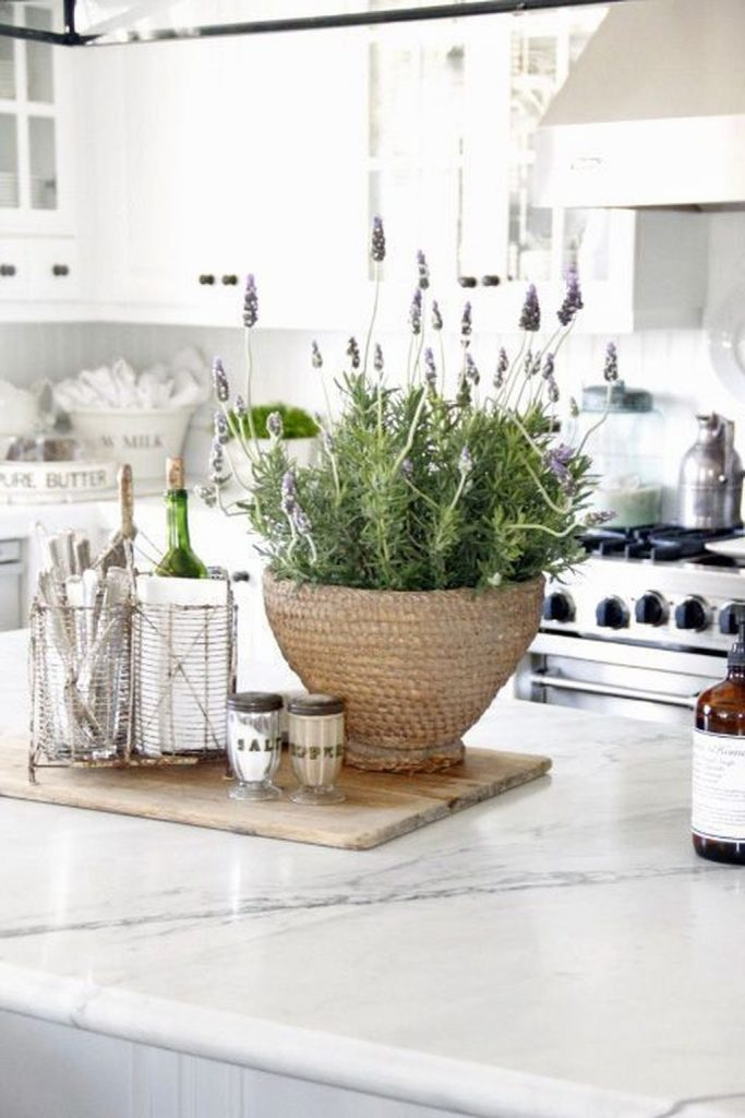 antique baskets kitchen holding lavender plant white farmhouse kitchen