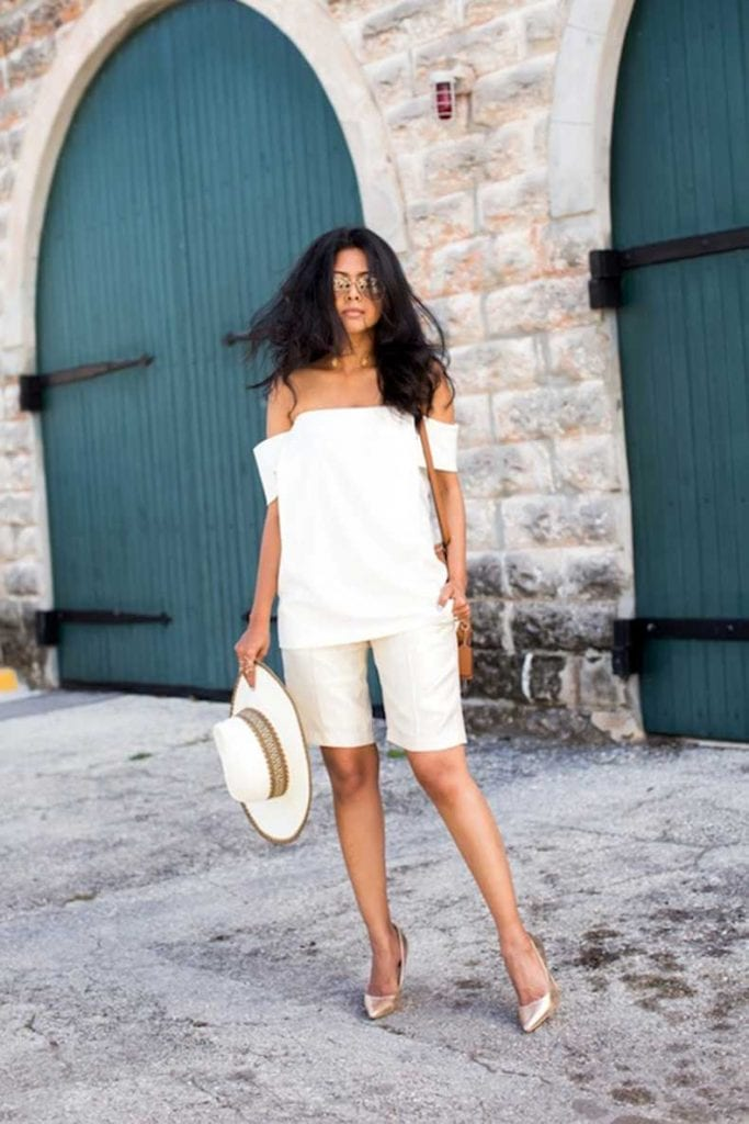 dressy shorts bermudas off the shoulder top hat gorgeous summer street style