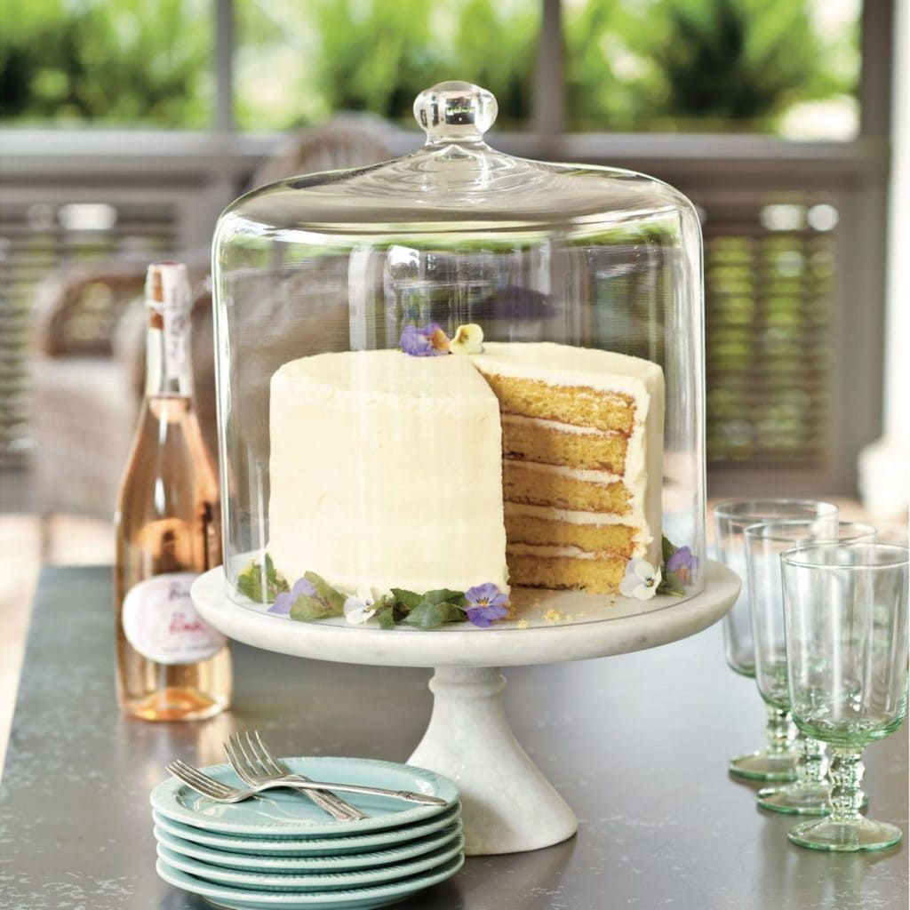 decorating cloches cake under glass dome on cake stand pretty display