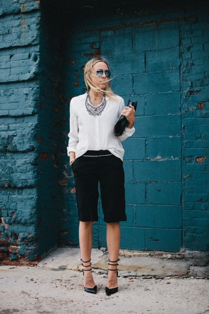 dressy shorts black with white blouse street style summer fashion