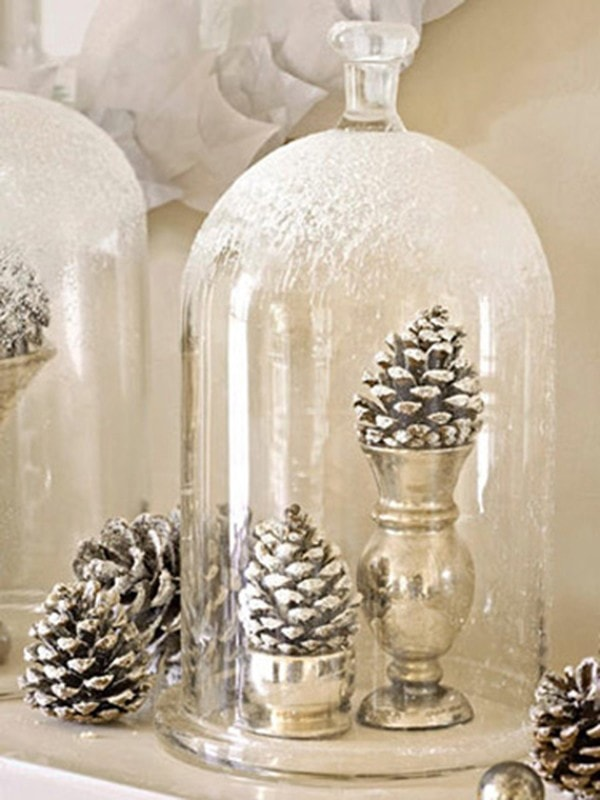 decorating cloches christmas holiday decor pinecones under glass domes