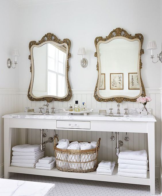 Lovely Honestly, This Is Just One Of The Prettiest Bathrooms Iu0027ve Ever Come  Across. Those Double (!) Antique Mirrors Are Amazing!