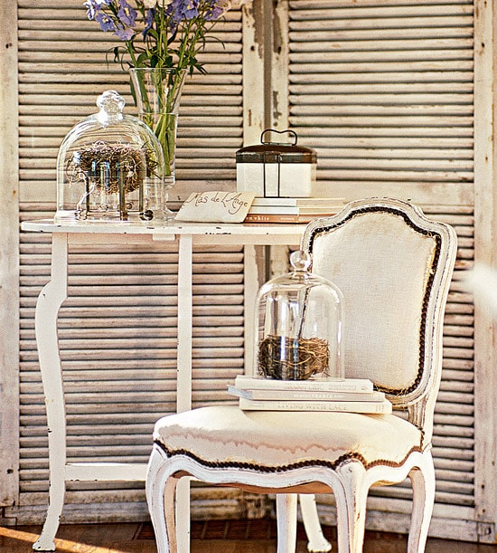 decorating cloches birds nest on table vignette french country style chair
