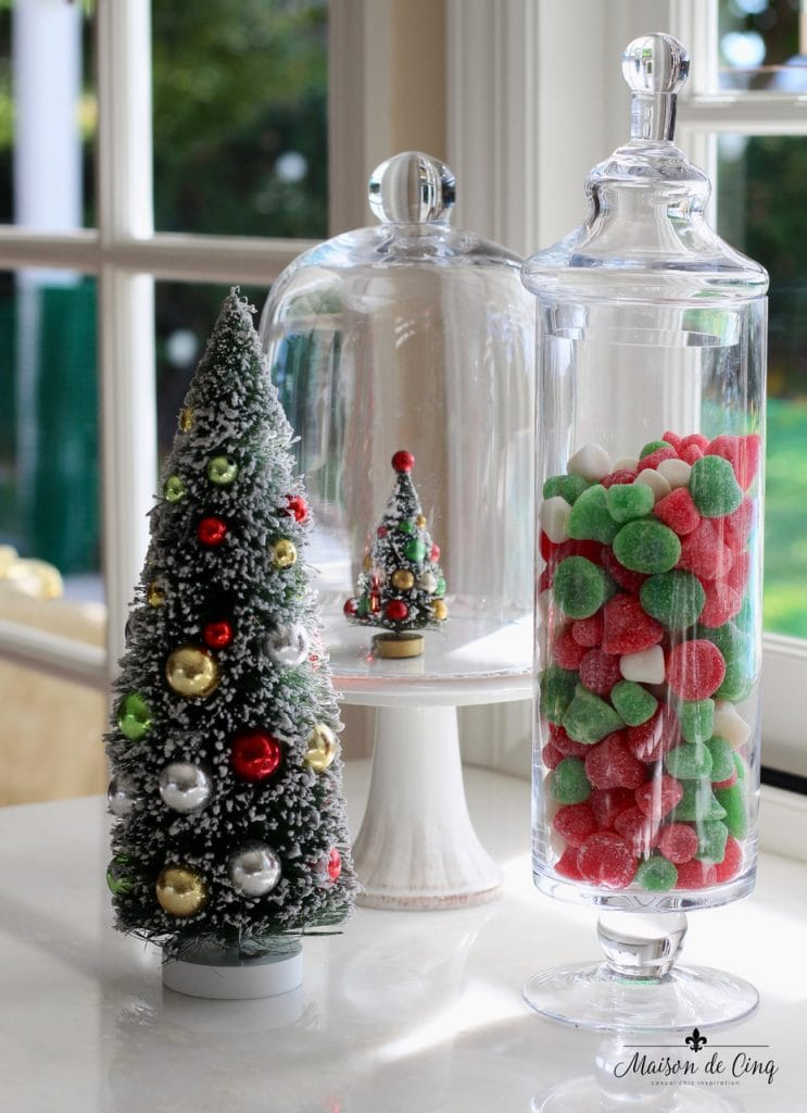 decorating cloches candy christmas display under glass