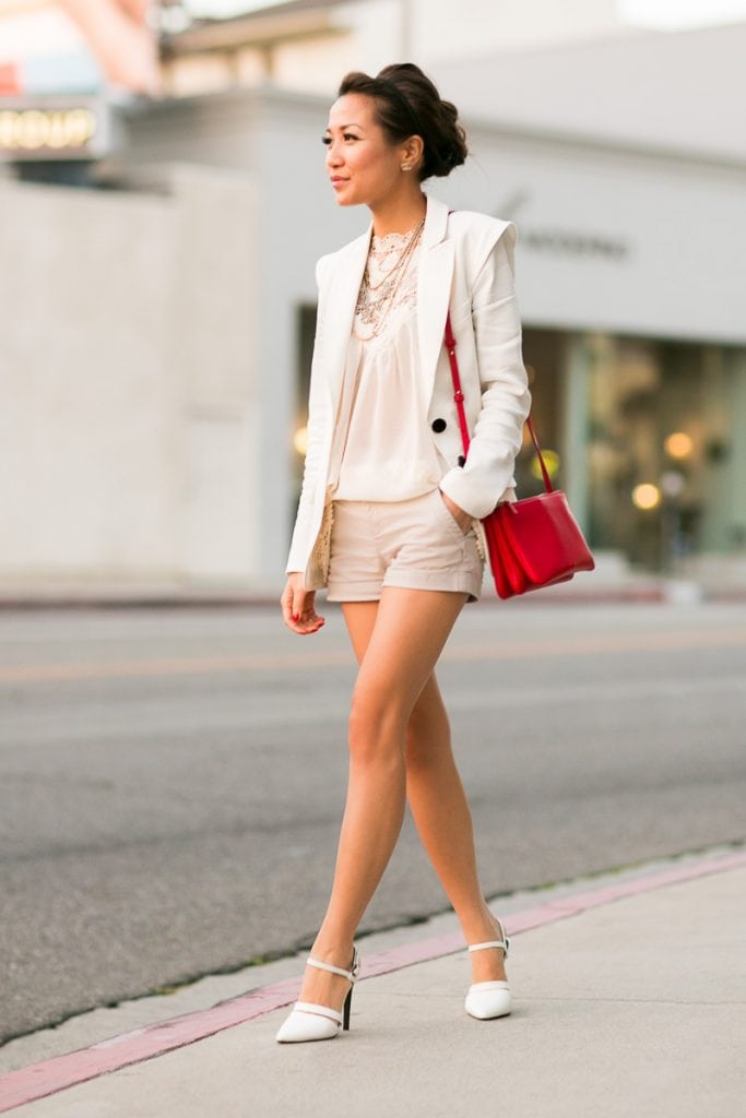 dressy shorts white jacket red handbag cute street style summer fashion