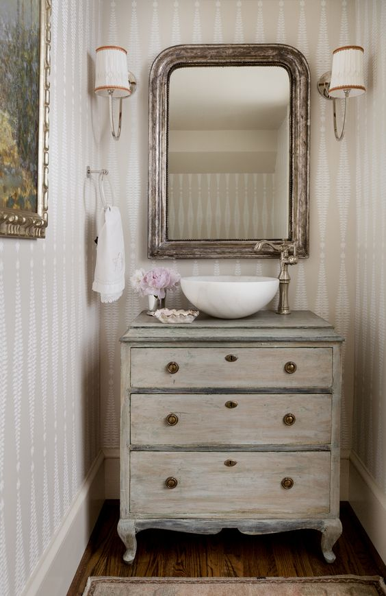 Friday Favorites - Antique Mirrors in a Bathroom