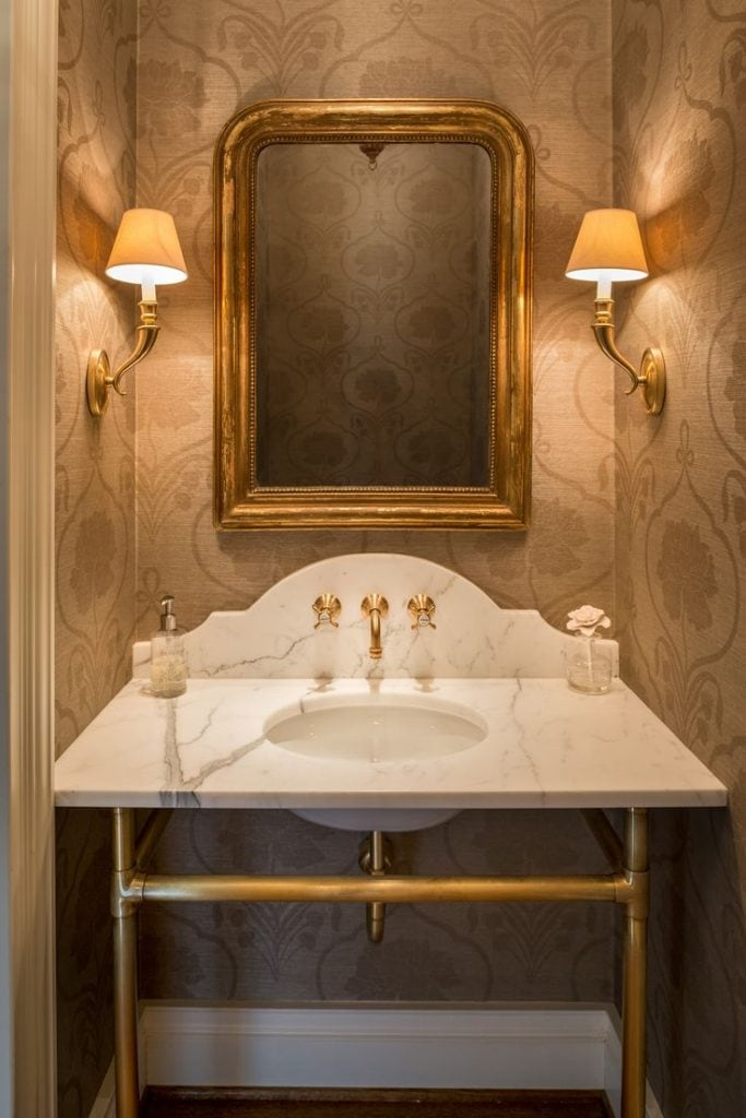 antique mirrors gold over pedestal sink with brass legs