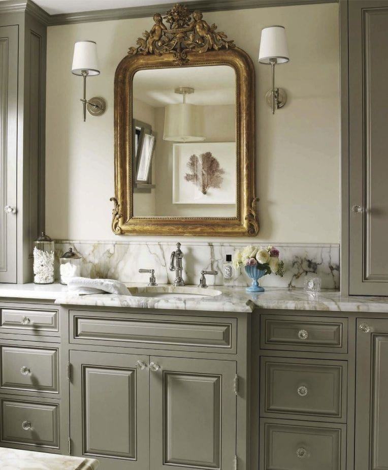 antique mirrors bathroom gold mirror grey cabinets glass knobs