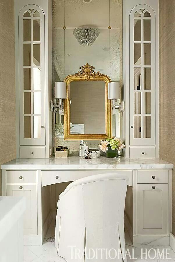 antique mirrors gold in white bathroom vanity with chair