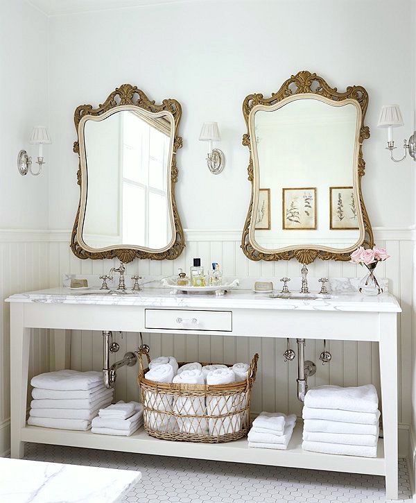 antique mirrors twin over double sink vanity gorgeous french farmhouse bathroom