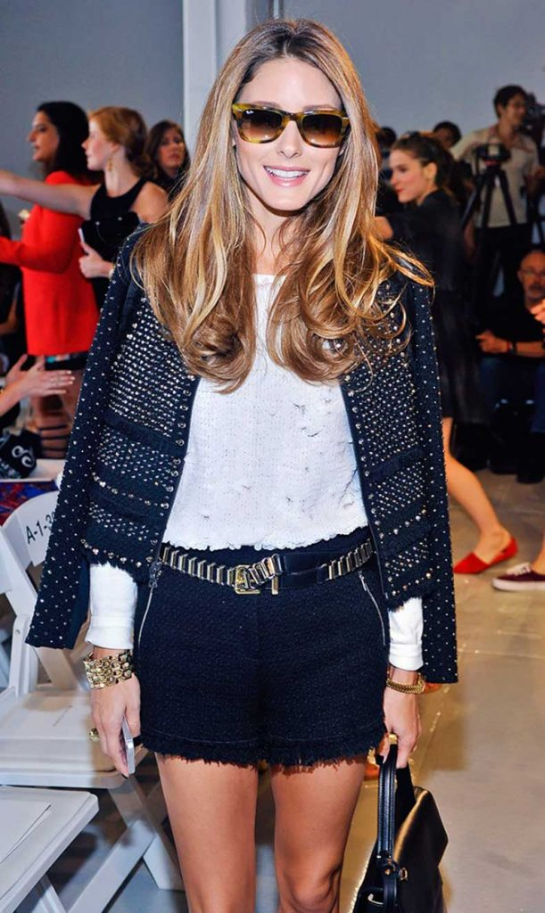 dressy shorts black with jacket olivia palermo summer style