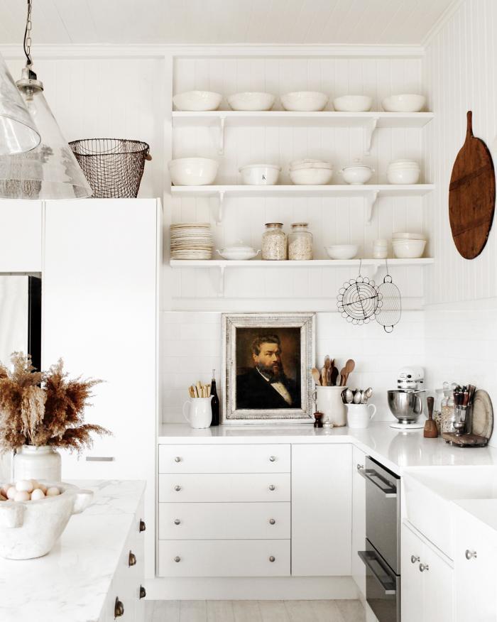 white kitchen farmhouse style art breadboards ironstone