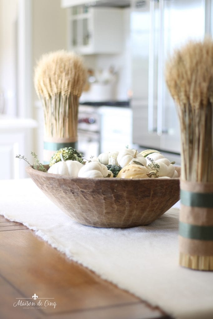 fall home tour kitchen decor shafts of wheat dough bowl holding pumpkins and gourds