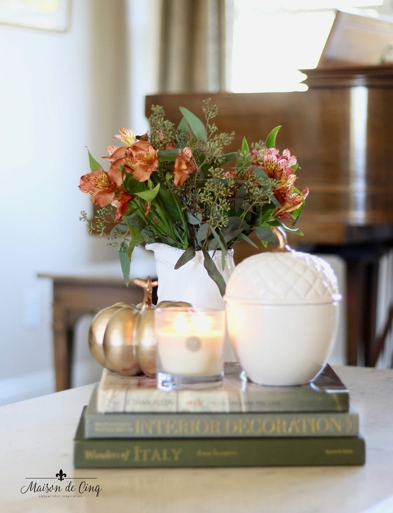 fall home tour pumpkin fall flowers and candles