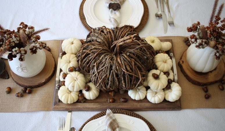 Fall Tablescape with Willow Pumpkin and Wild Flowers