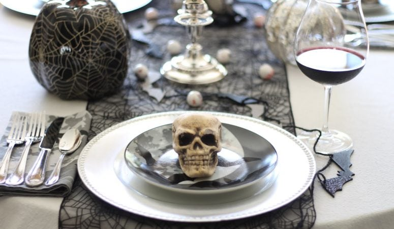 Halloween Tablescape in Black and Silver