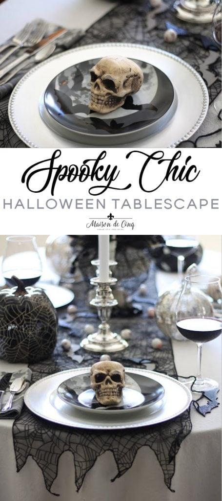 spooky chic halloween tablescape on maison de cinq